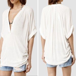 All Saints 4 Isle Top Ivory Oversized Ruched Henle